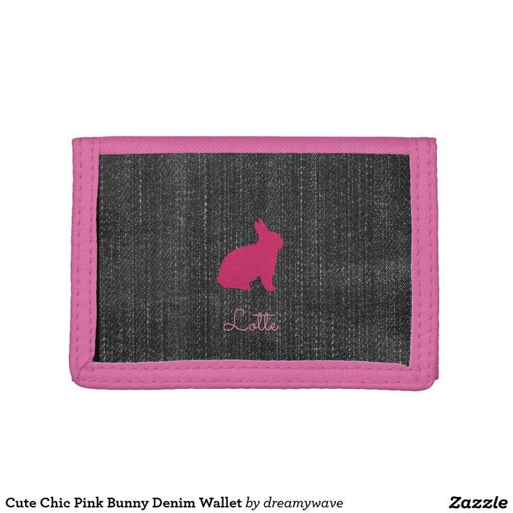Cute Chic Pink Bunny Denim Wallet