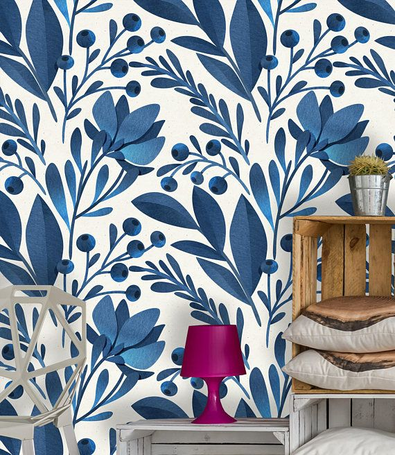 Removable Wallpaper Self Adhesive Wallpaper Blue Flowers And Leaves Peel Stick Wallpaper In 2019 Peel Stick Wallpaper Self Adhesive Wallpaper Adhesive Wallpaper