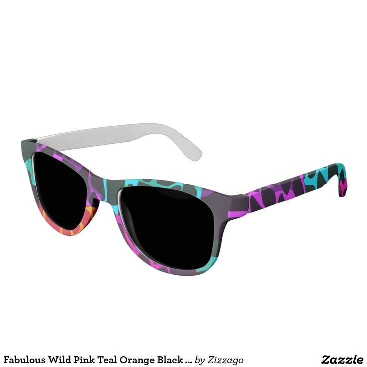 Fabulous Wild Pink Teal Orange Black Leopard Sunglasses