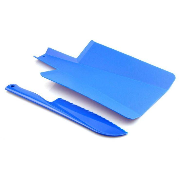 Juego de tabla de cortar verduras y cuchillo a juego, en plástico duro y tres colores