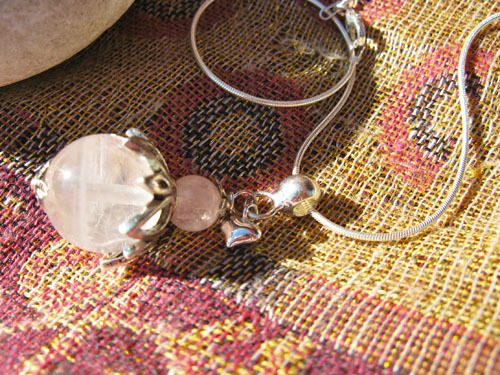Loveheart necklace ~ rose quartz + silver