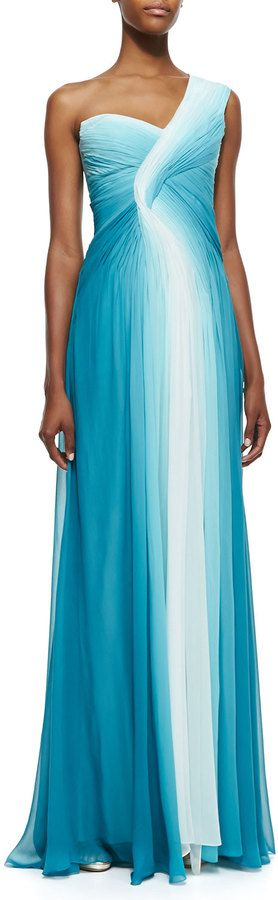 Monique Lhuillier One-Shoulder Draped Ombre Gown, Teal/White