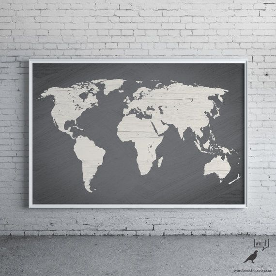 Gray World Map Poster, Painted Texture Print, Large World Map Print, Modern Home Decor, Travel Decor, Map Art, Gift for Him, Wall Art