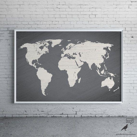 Gray World Map Poster Large World Map Print Modern by WordBirdShop