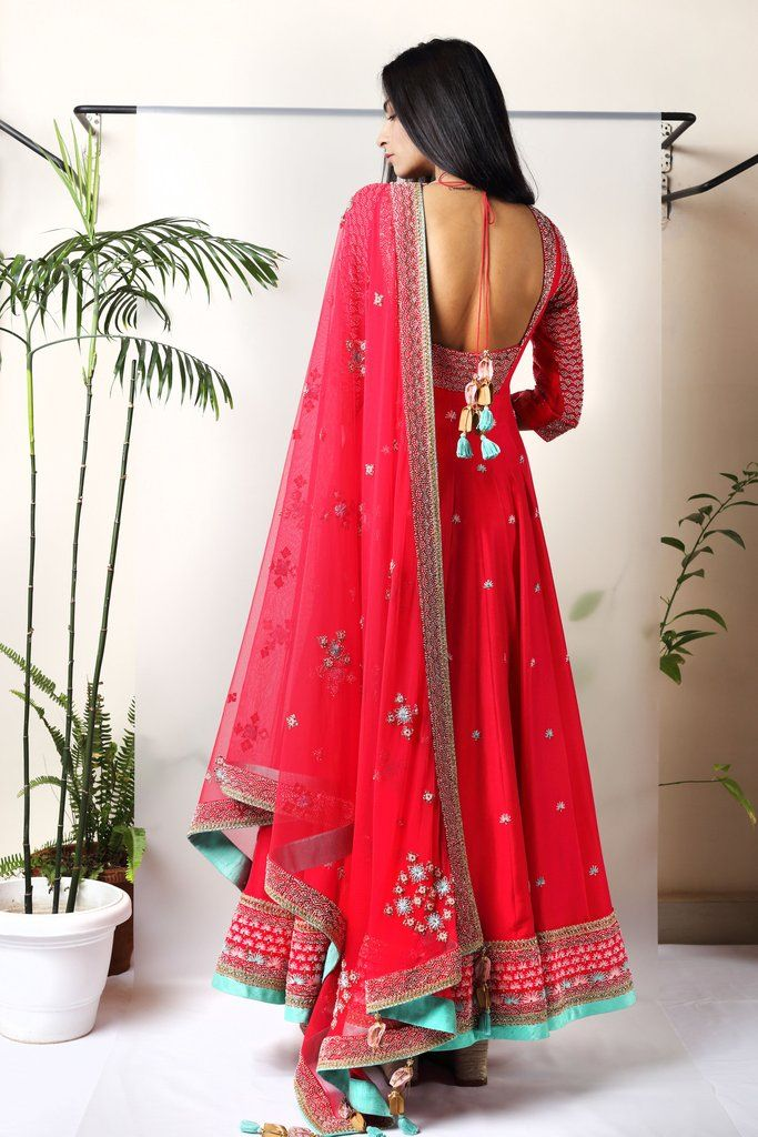Red Embroidered Anarkali - Back | Walia Jones