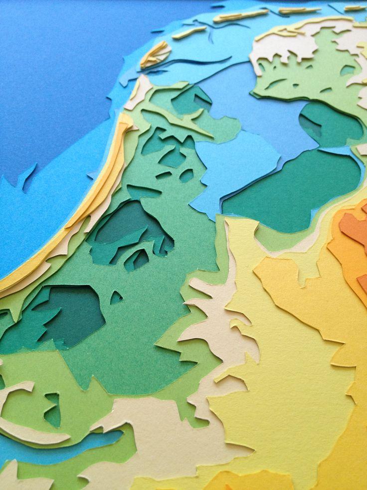 De kaart van Nederland gesneden uit lagen papier www.beeldontwerper.nl