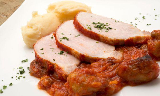 Lomo de cerdo al horno con puré de patatas. #recetas #karlosArguiñano