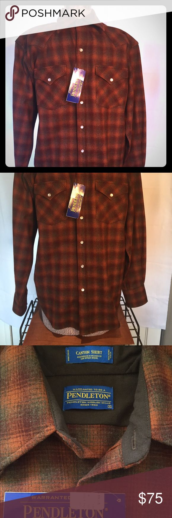 """NWT Pendleton Men's Pearlsnap Canyon Wool Shirt Beautiful wool shirt purchased directly from Pendleton.  Marked as """"brick"""" as color but I'd call it orange and brown plaid. Pendleton Shirts Casual Button Down Shirts"""