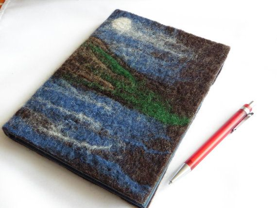 A5 Hand-felted Notebook  Moonlight Loch by LittleDebFelts on Etsy