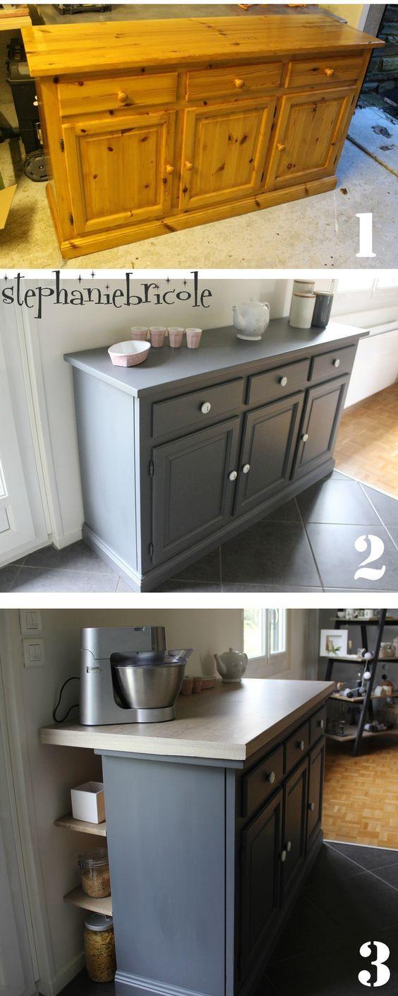 d co r cup un bahut relook devenu plan de travail. Black Bedroom Furniture Sets. Home Design Ideas