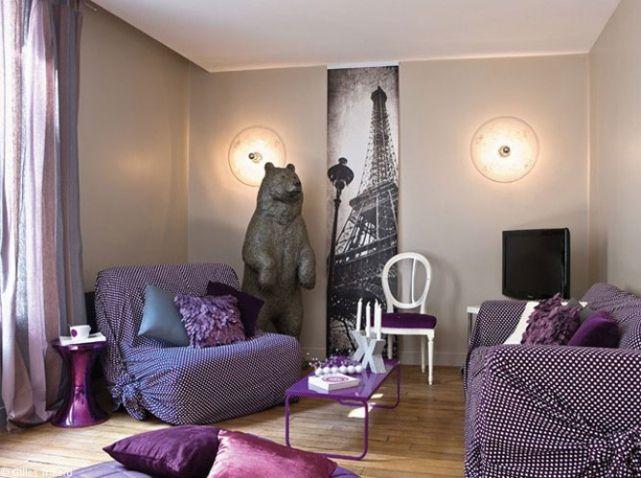 Les 25 meilleures id es de la cat gorie canap violet sur for Salon petit appartement