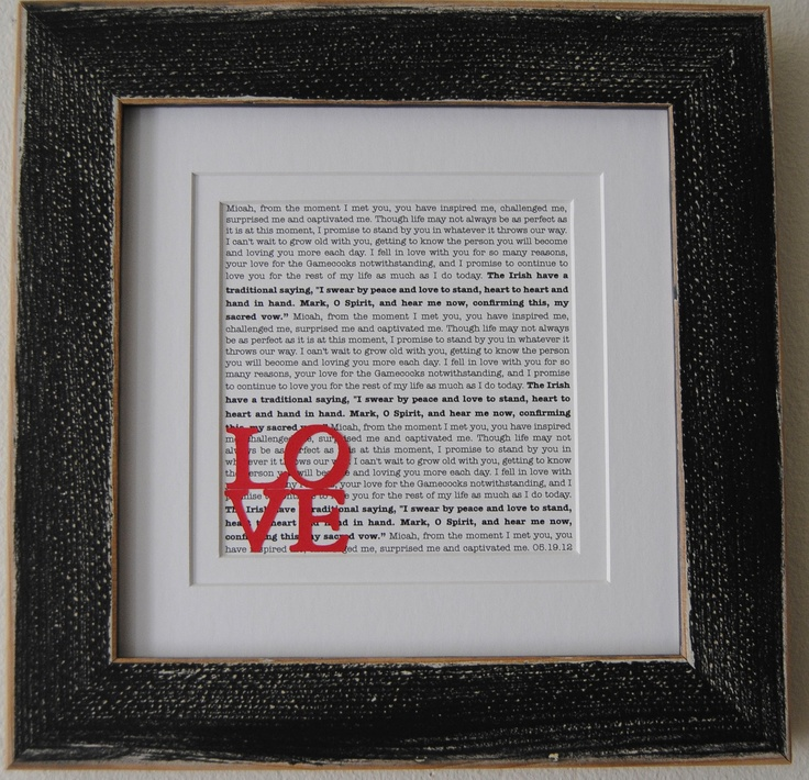 Wedding Vow Art Printed Wedding Vows Framed Wedding Vows Personalized Gift
