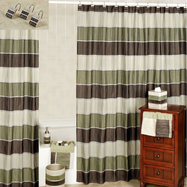 Green And Brown Curtains: Sage Green And Brown Shower Curtain In 2019