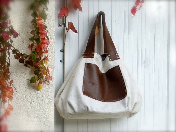 Linen leather hobo bag  diaper bag  copper brown by dawnaparis, €49.00