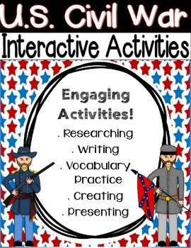 The activities in this package can be implemented in whole group during a Civil War unit, in small group social studies stations, or during your literacy block in literacy stations. These project-based social studies stations will have your students researching people of the war to create posters, reading about events leading up to the war and major events to complete graphic organizers for social studies notebooks, reenacting events of the war, practicing 20 key vocabulary terms, playing…