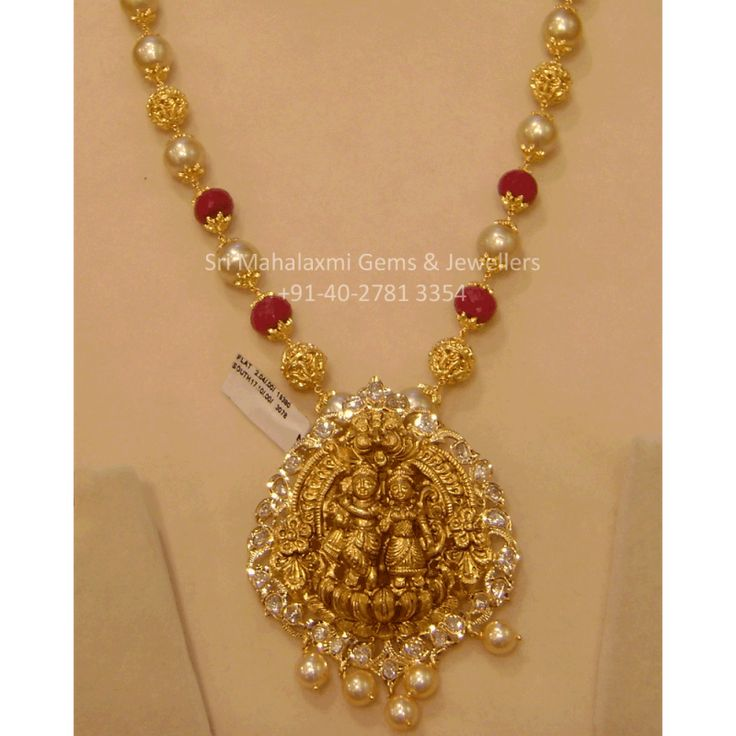 Temple Jewelry Long Necklace with Pearls & Ruby Beads with Uncut Diamond