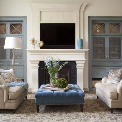 Fireplace Built In Design, love the built ins!! doors over clutter! and paint color-