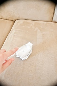 "How to clean microfiber. Rubbing alcohol in spray bottle + white sponge, then let dry. ""Refluff"" with white bristle brush!"