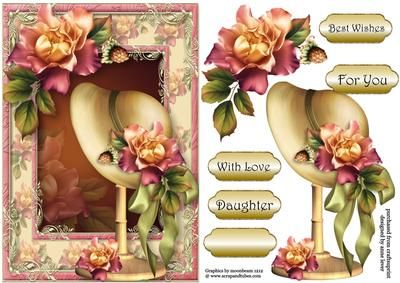 Beautiful Sunset Roses Bonnet on Craftsuprint designed by Anne Lever - This lovely topper features a vintage bonnet on a stand, adorned with beautiful sunset roses, with the matching frame. It has decoupage, four greetings and a blank greetings tile. The greetings are best wishes, for you, with love and daughter. - Now available for download!