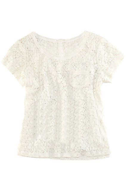 ROMWE | Floral Lace White T-shirt, The Latest Street Fashion #ROMWEROCOCO