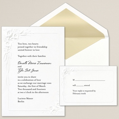 $69.95/100 - This classic fold-over invitation features the popular calla lily in an elegant border design.