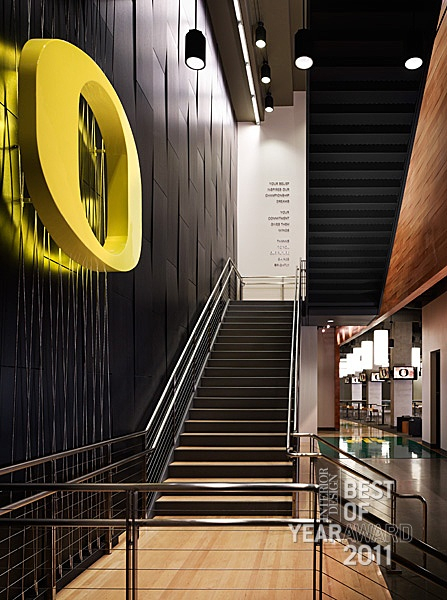 Love the railing and mix of textured materials! Interior Design Magazine -  Matthew Knight Arena