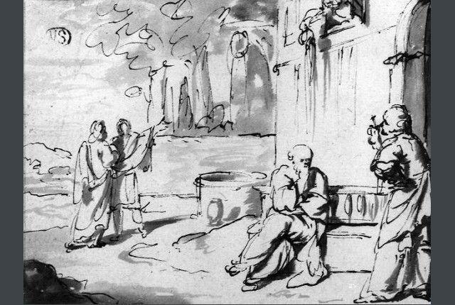 Ян Мирис, Jan van Mieris (1660 — 1690) —Сократ и Ксантиппа (Groeningemuseum Brugge)