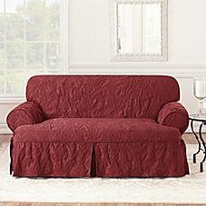 image of Sure Fit® Matelasse Damask 1-Piece T-Cushion Loveseat Slipcover