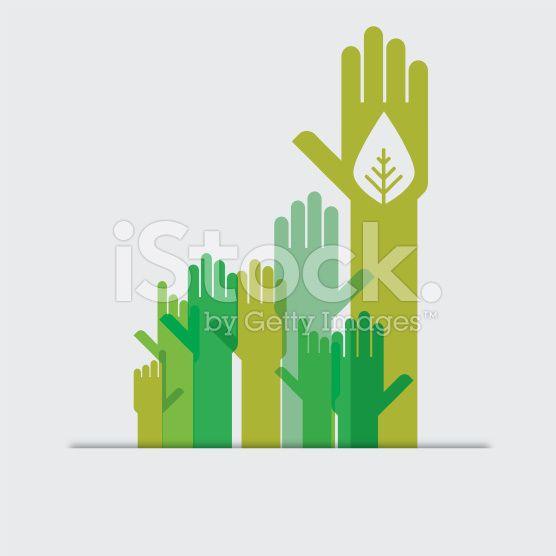 Green hands raised royalty-free stock vector art