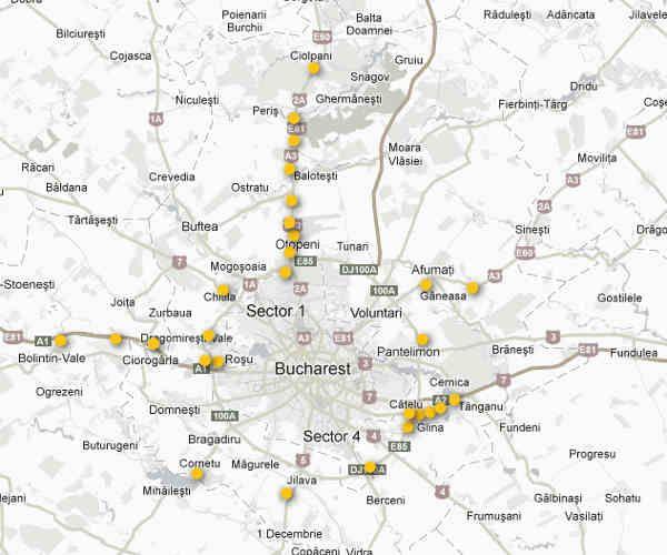 Harta cu panouri publicitare zona Bucuresti - Ilfov