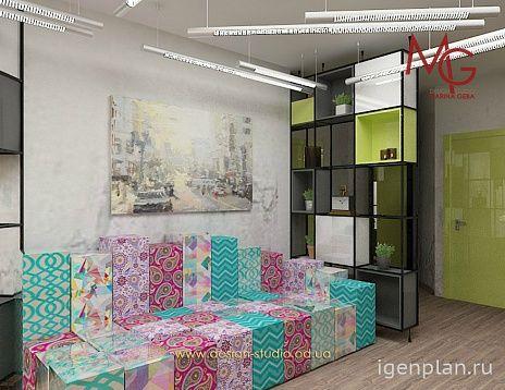 Уютный диванчик для гостиной в стиле Лофт. Автор проекта: Марина Геба. #дизайнинтерьера #igenplan #дизайнгостиной  #интерьергостиной  #гостиные