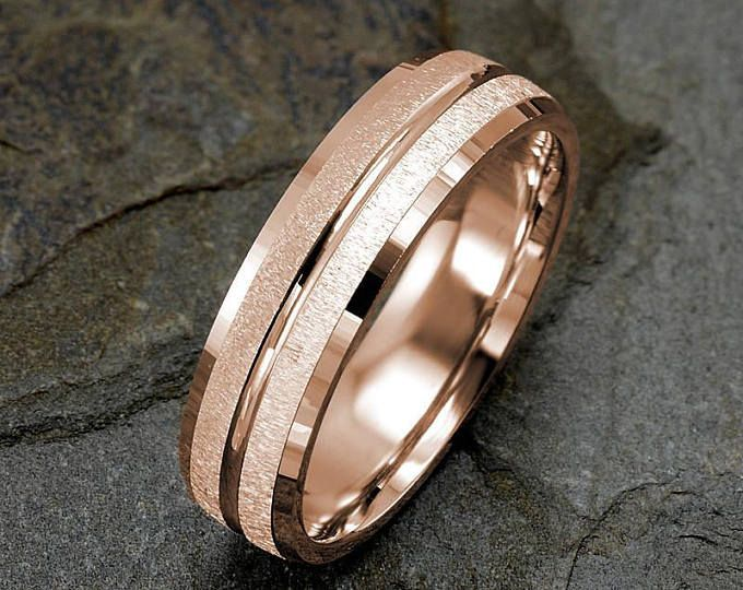 Anello In Oro Rosa Mens Wedding Band Mens Wedding Ring Etsy Mens Wedding Rings Gold Rings For Men Mens Rose Gold Wedding Ring