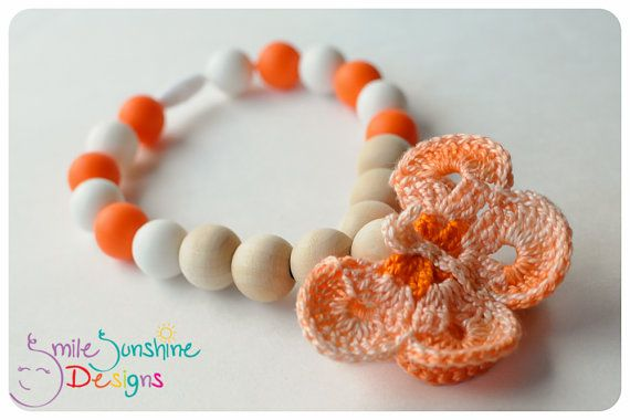 Crochet Butterfly, Unfinished wood, Silicone teething beads.  Has a clasp to connect where needed...carriers, clips, bouncy seats! Chew beads for little chewers from Smile Sunshine Designs