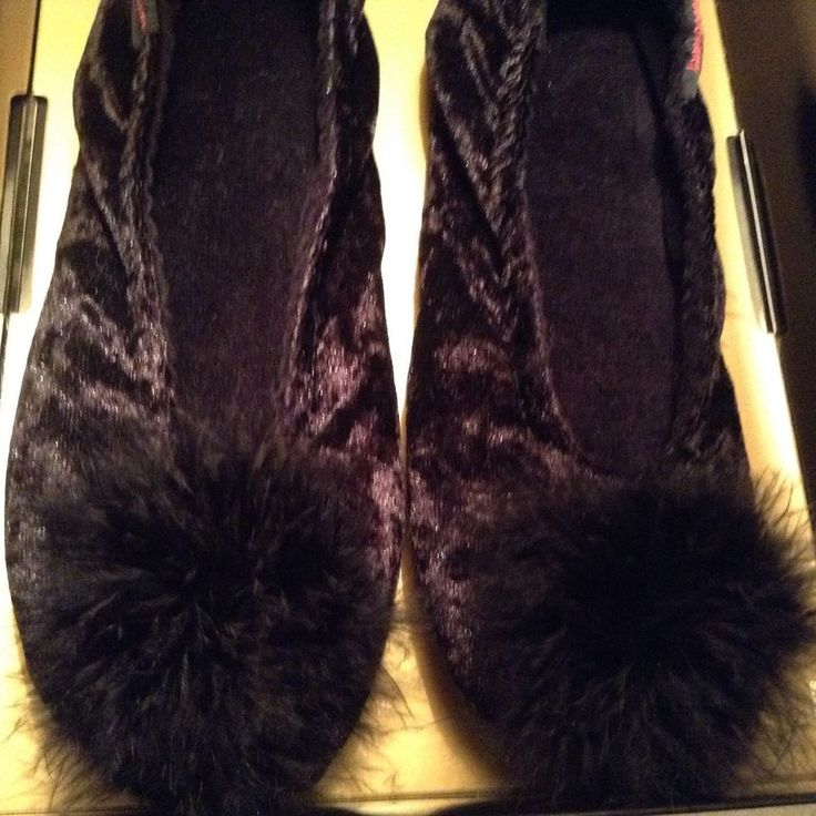 Janet Reger, Black Velvet Slippers With Marabou Detail, Size 4-5, Small in Clothes, Shoes & Accessories, Women's Shoes, Slippers | eBay
