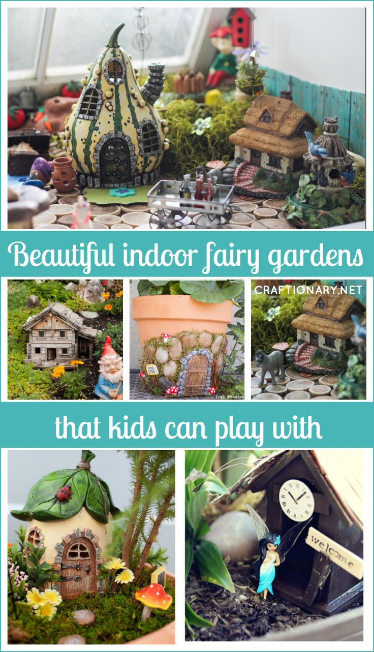How to make beautiful indoor fairy gardens with indoor plants? Great ideas to make fairy gardens that kids can play with, craft and have inside home easily.