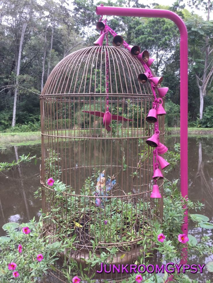 Upcycled birdcage into a hanging planter @JunkroomGypsyAustralia