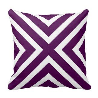 20% OFF ALL PILLOWS SHOP NOW Chic Geometric Stripes in Plum and White Pillow - Purple Throw Pillows