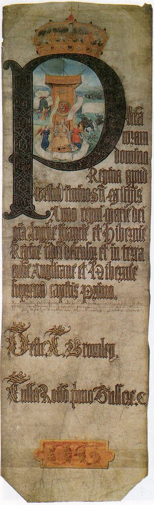 Michaelmas Plea Roll, 1553, showing Mary I enthroned.