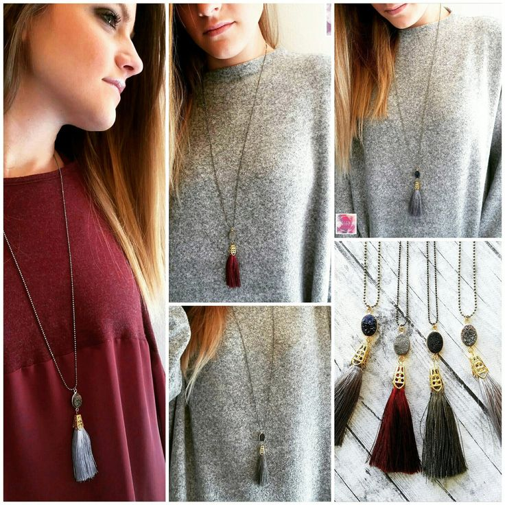 Oh the slay bells are ringing and MarKi is listening!!! New dainty druzy necklaces with lovely silk tassels in 4 amazing combos for you to choose from! Don't miss them!