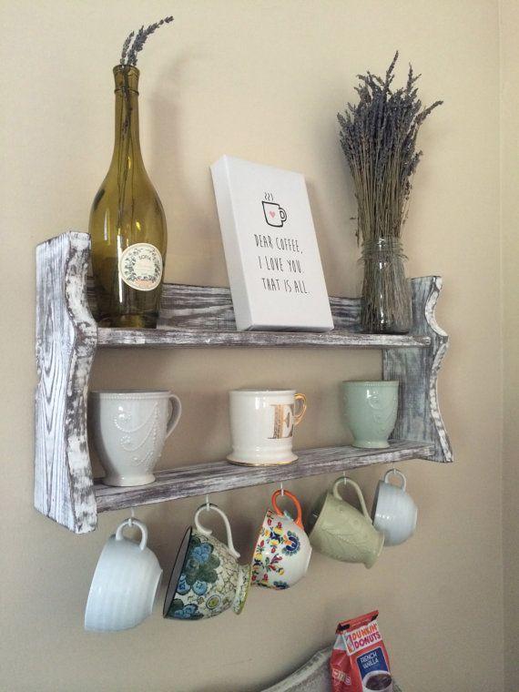 Wonderful Coffee Mug Holder Rack NEW COLOR OPTIONS By RagamuffinWoodDesign