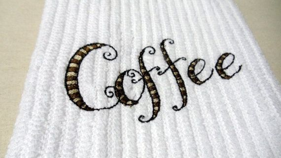 Kitchen Dish Towel  Embroidery Coffee Design by kalliescotton. Explore more products on http://kalliescotton.etsy.com
