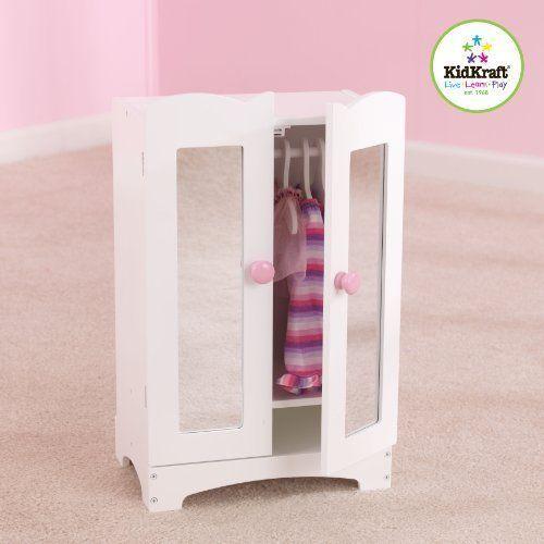 Kidkraft Dollhouse Furniture Lil' Doll Armoire Wardrobe Door Open Close White #KIDKRAFTDropShip