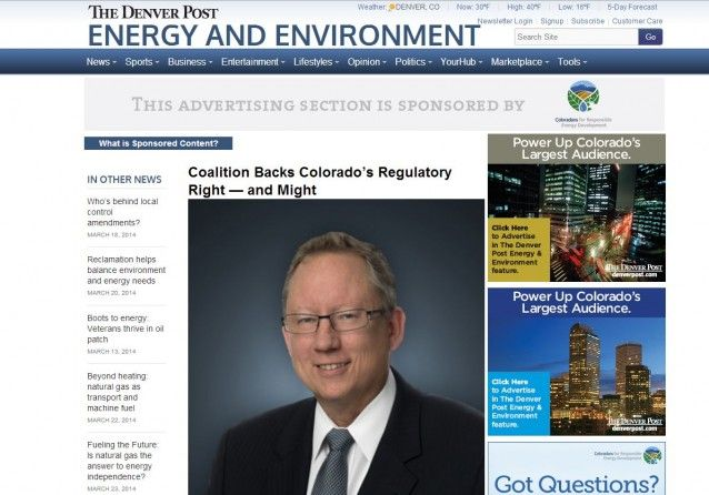 "The Denver Post's 'Energy And Environment' Section Is Produced By The Oil And Gas Industry | ""Considering that the font, the layout, everything looks just like the Denver Post, I think that there's no doubt that a lot of readers could be misled."""
