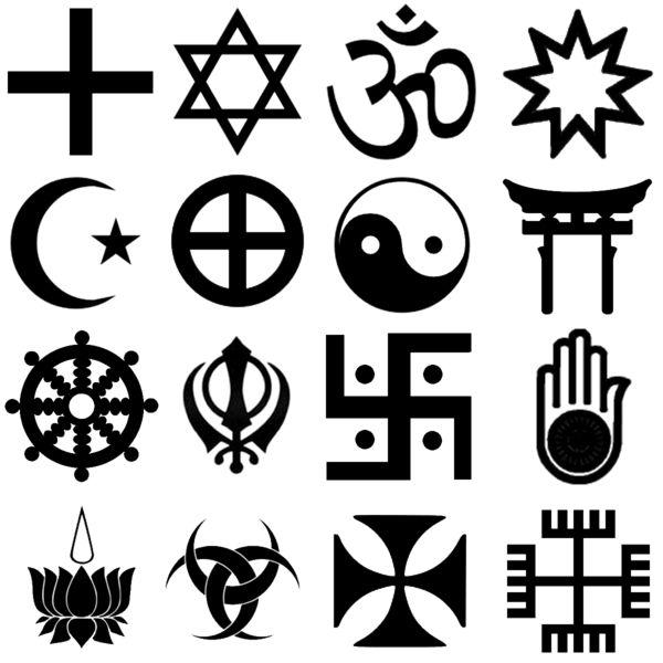 Religion symbols, row 1: Christianity, Judaism, Hinduism, Baha'i Faith row 2: Islam, Gnosticism, Taoism, Shinto row 3: Buddhism, Sikhism, Jainism, Jainism, row 4: Ayyavazhi, Wicca, Christian, Slavic neopaganism