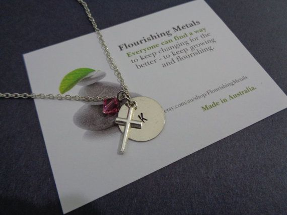 Girl's Cross Necklace - girls Confirmation Gift - Silver Cross Pendant -Personalized Cross Jewelry- Holy Communion - women Cross Jewelry