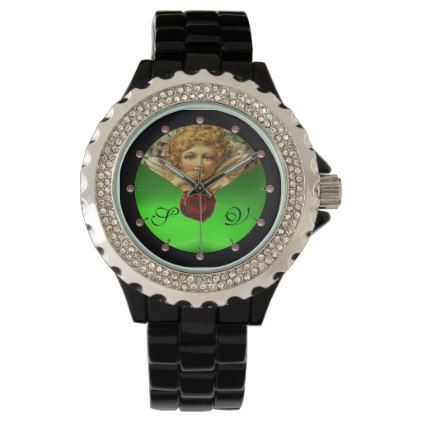 #monogram - #ANGEL HEART WAX SEALGREEN EMERALD GEM MONOGRAM WRIST WATCH