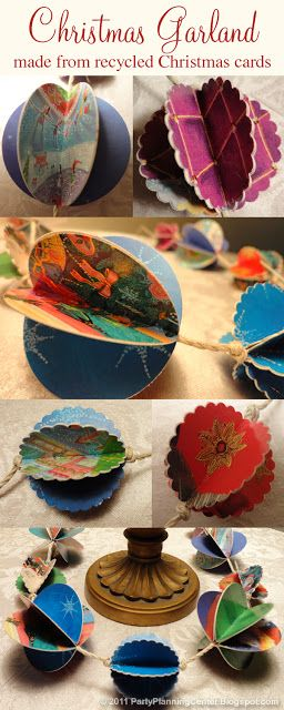 How to Make Recycled Paper Christmas Decorations. These used Christmas cards.  5/2015 js