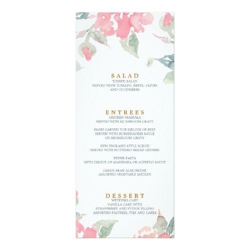 Watercolor Wedding Reception WATERCOLOR GARDEN WEDDING wedding dinner menu Card