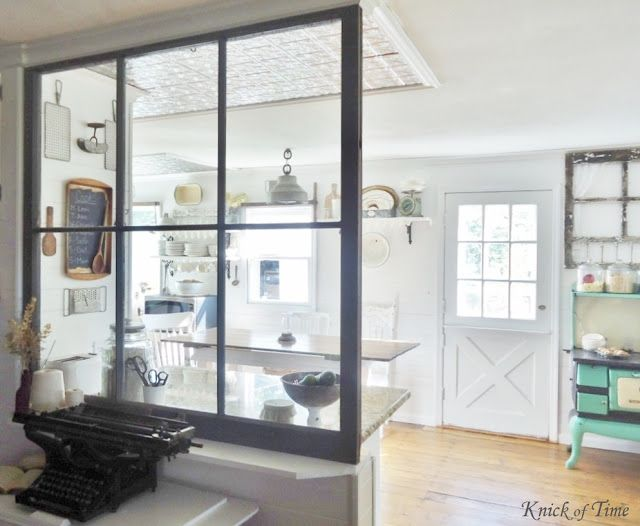 Repurposed Window as Room Divider - it allows lots of natural light from a bright room to a dark room and opens up the view between the spaces ~~~via http://knickoftimeinteriors.blogspot.com/
