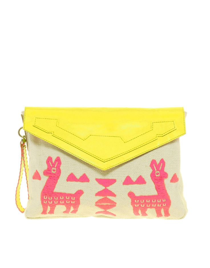 LLAMAS: Asos Envelopes, Colors Combos, Pink Yellow, Style, Burning Flames, Neon Clutches, Leather Trim, Bags Clutches Accessories, Envelopes Clutches